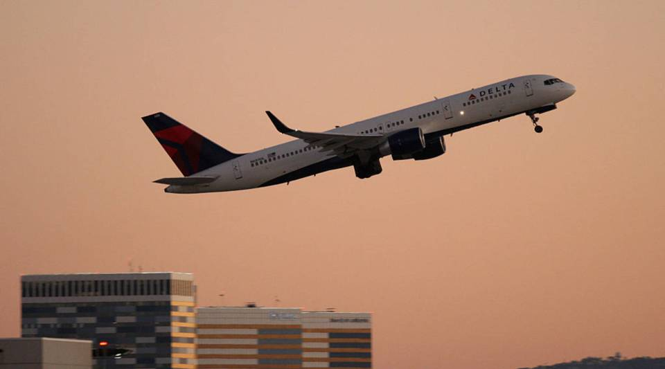 Delta Airlines jet takes off at LAX.