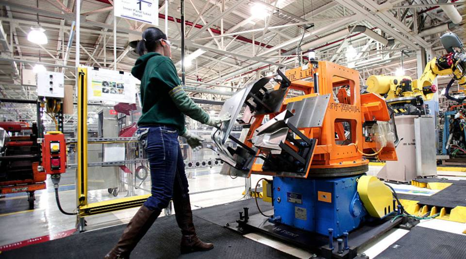 A factory worker at the Fiat Chrysler Automobiles US Warren Stamping Plant in Warren, Michigan.