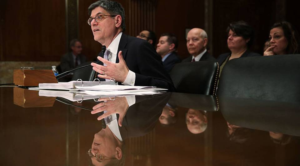 U.S. Secretary of the Treasury Jacob Lew testifies during a hearing before the Financial Services and General Government Subcommittee of the Senate Appropriations Committee March 8, 2016 on Capitol Hill in Washington, DC.