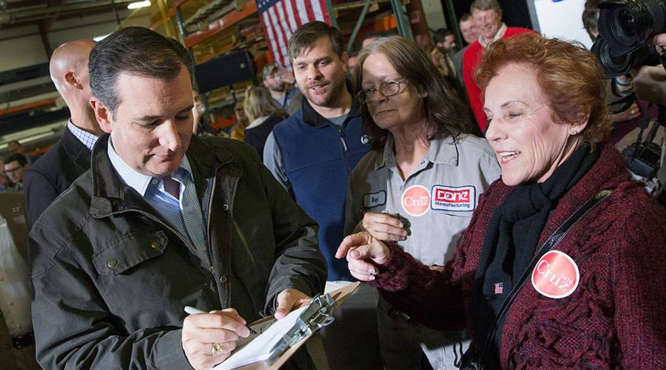 Republican presidential candidate Sen. Ted Cruz greets workers at Dane Manufacturing during a campaign stop on March 24, 2016 in Dane, Wisconsin. Wisconsin voters go to the polls for the state's primary on April 5.
