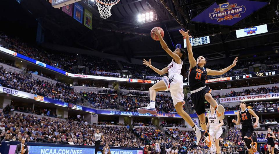 Moriah Jefferson of the Connecticut Huskies shoots against Gabriella Hanson of the Oregon State Beavers in the second quarter during the semifinals of the 2016 NCAA Women's Final Four Basketball Championship at Bankers Life Fieldhouse on April 3, 2016 in Indianapolis, Indiana.