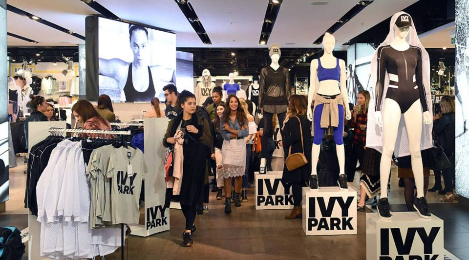 Shoppers check out Beyonce's Ivy Park collection at TopShop in London.
