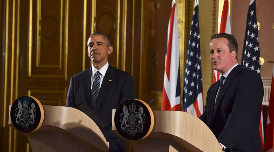 U.S. President Barack Obama, left, and British Prime Minister David Cameron held a joint press conference where Obama stated his case for the U.K. to remain inside the European Union.