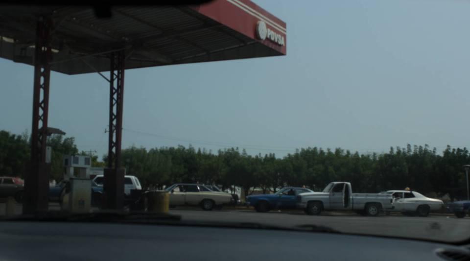 Long lines formed outside a Venezuelan gas station.