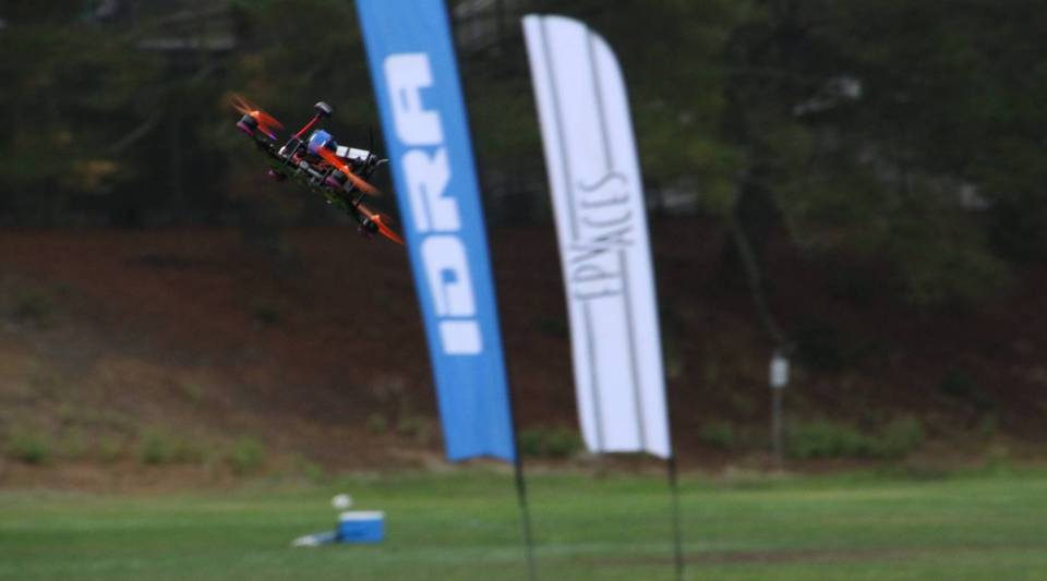 A drone racing at an IDRA competition.