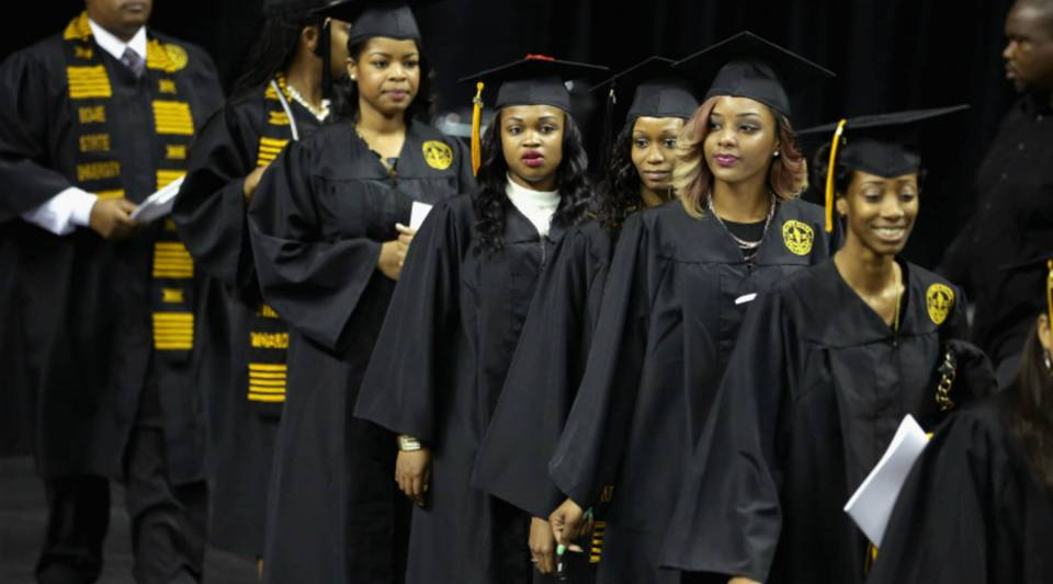 Graduates of Bowie State University — Maryland's oldest historically black university —arrive for the school's graduation ceremony.