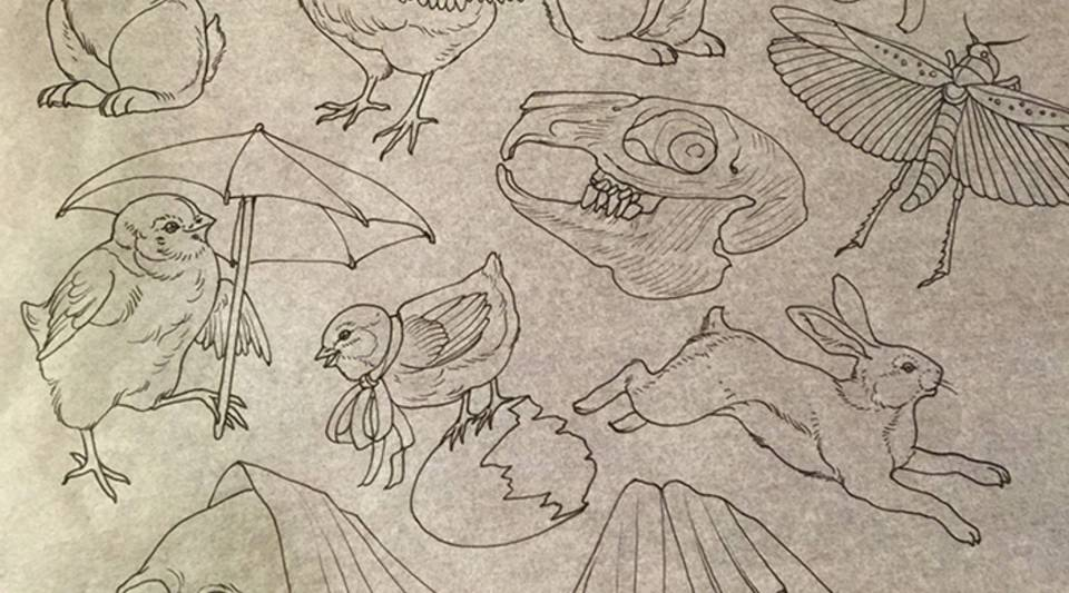 A flash sheet by Rachel Hauer, tattoo artist at East River Tattoo in Greenpoint, Brooklyn.
