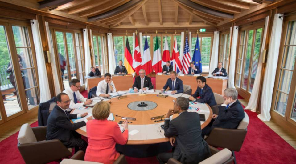 G7 country leaders meet at a summit in June of last year.