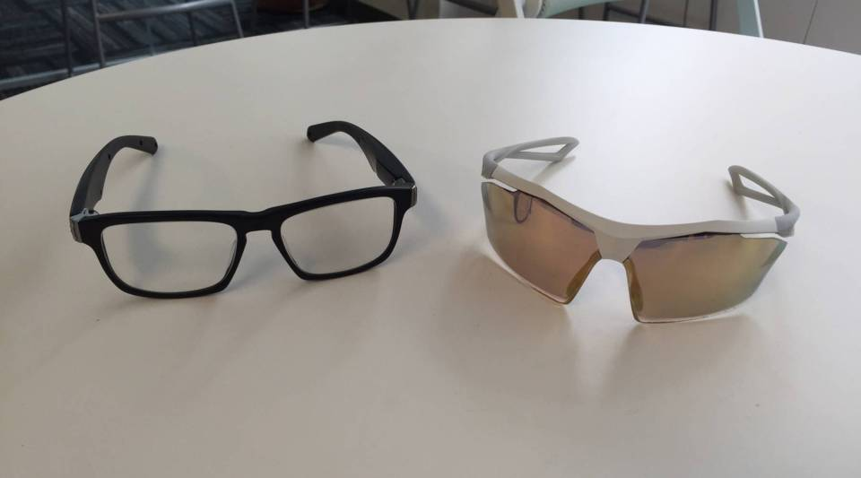 Project Genesis frames, left, along with a pair of Nike running glasses, both from VSP Global.