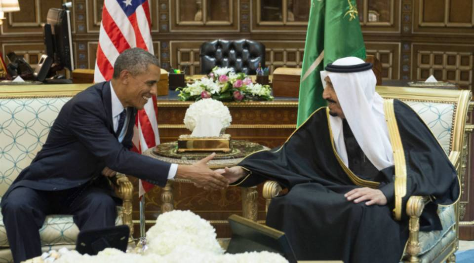 """President Obama at a meeting with King Salman in January of last year. When asked in a recent interview with The Atlantic if the Saudis are America's friends, the president said, """"It's complicated."""""""