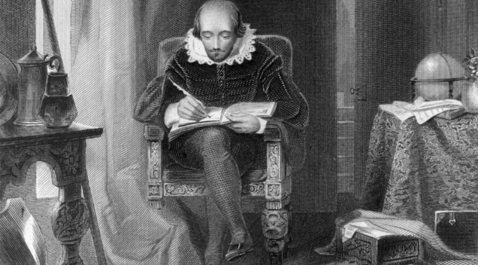William Shakespeare, circa 1610, at work in his study. Original Artist: A.H. Payne