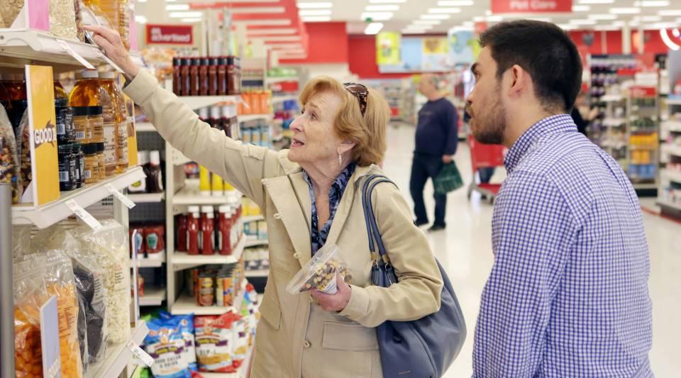Seijen Takamura, the lead designer with the Food + Future coLab, talks to target shopper Nedra Henry.