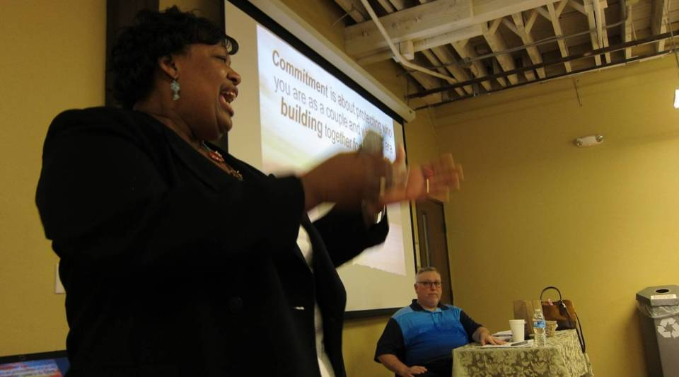 Instructors Cynthia Rayford and Scott Roby conduct a marriage counseling class in Oklahoma.
