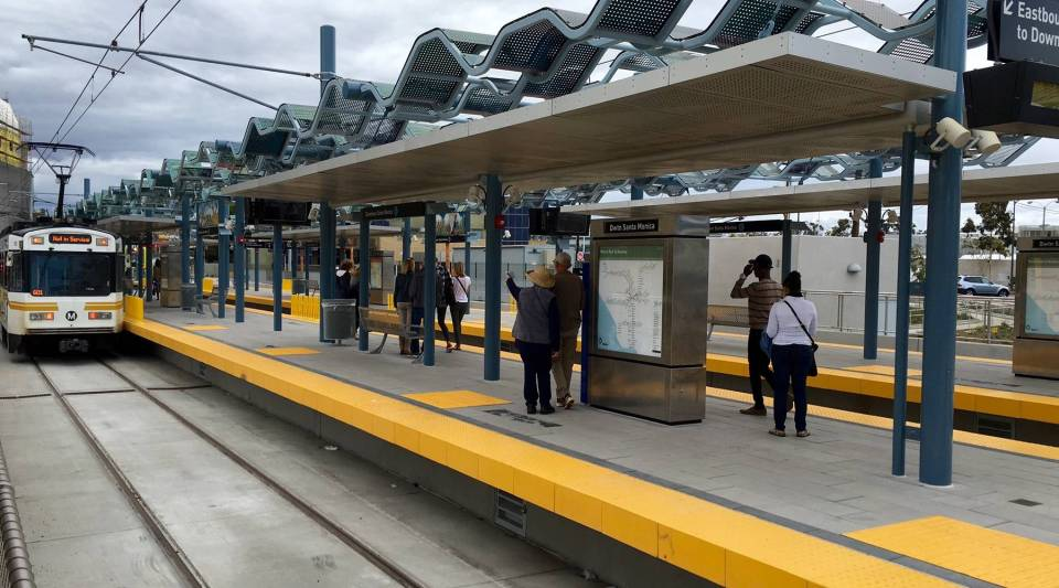 Trains arrive at the Downtown Santa Monica station.