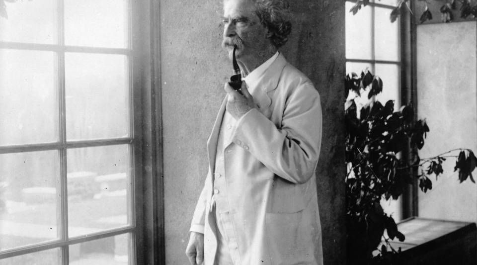 Archival picture of Mark Twain circa 1884.