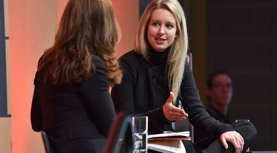 NBC's Maria Shriver, left, interviews Theranos Founder and CEO Elizabeth Holmes at the Vanity Fair New Establishment Summit in San Francisco in 2015.