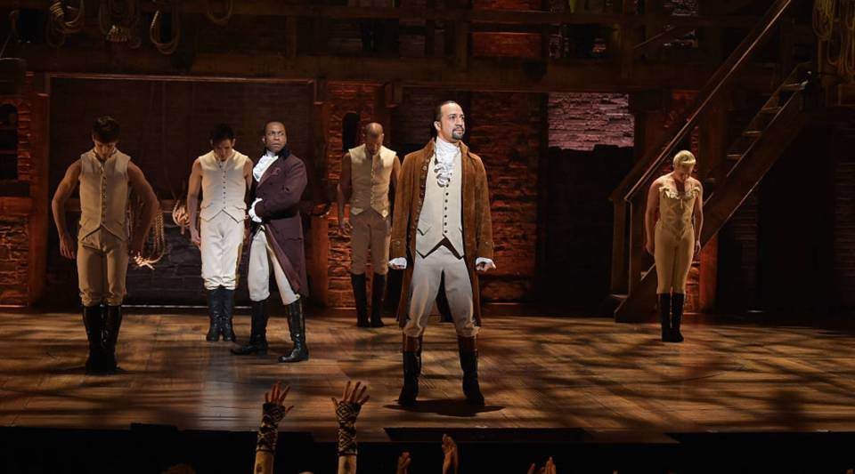 Actor Leslie Odom, Jr. (L) and actor, composer Lin-Manuel Miranda (R) perform on stage during 'Hamilton' GRAMMY performance for The 58th GRAMMY Awards on Feb. 15 in New York City.