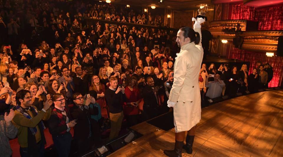 Lin-Manuel Miranda celebrates receiving GRAMMY award during 'Hamilton' at Richard Rodgers Theater on February 15, 2016 in New York City.