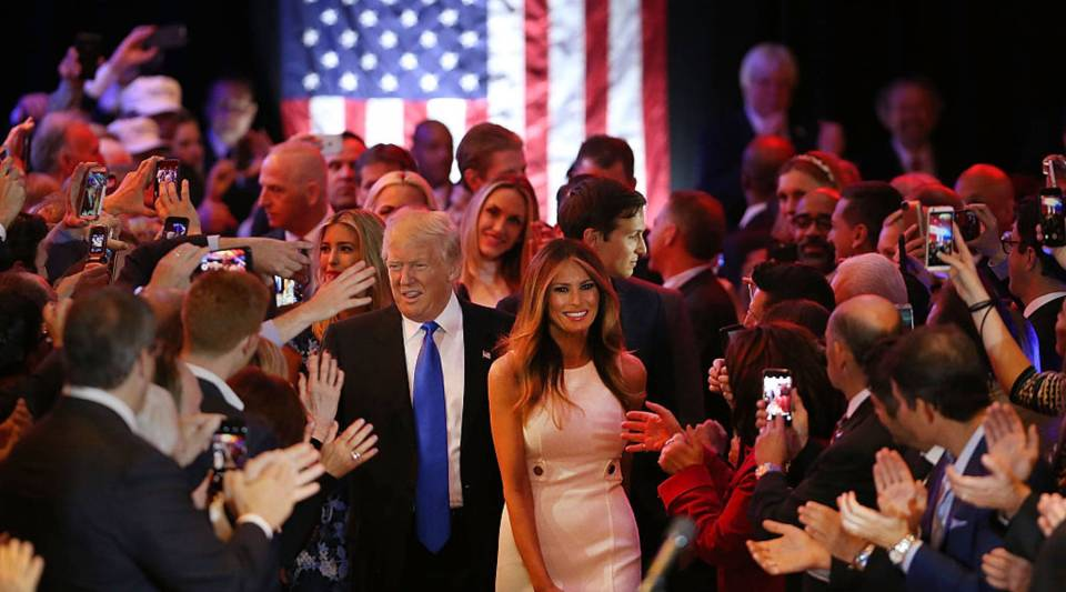 Republican presidential candidate Donald Trump and his wife Melania Trump arrives at Trump Tower in Manhattan following his victory in the Indiana primary on Tuesday.