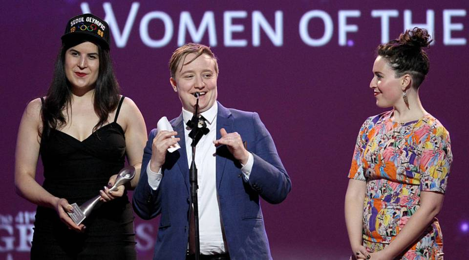 Jenna Weiss Berman (center)accepts the Grand Award for Podcast withLiz Watson and Eleanor Kaganonstage during the 41st Annual Gracie Awards on May 24, 2016 in Beverly Hills, California.