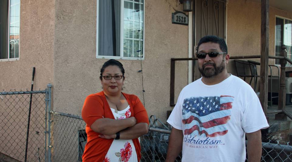 Terry Cano (left) and brother Joe Gonzalez were born and raised in Boyle Heights. Both have serious medical problems they attribute to the lead in their soil.