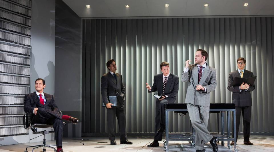 """Benjamin Walker, Alex Michael Stoll, Dave Thomas Brown, Theo Stockman and Jordan Dean on stage for """"American Psycho"""" at the Gerald Schoenfeld Theatre."""