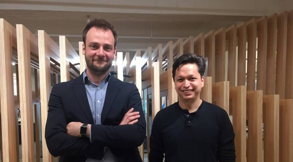 Pinterest Chief Creative Officer Evan Sharp (left) and CEO Ben Silbermann in the company's New York offices.
