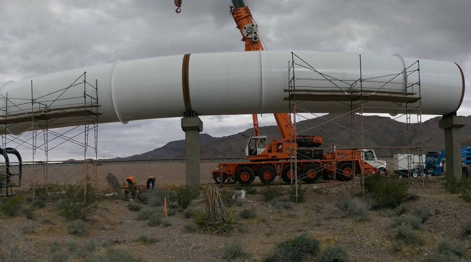 A piece of the hyperloop construction at the propulsion open air test in Las Vegas.