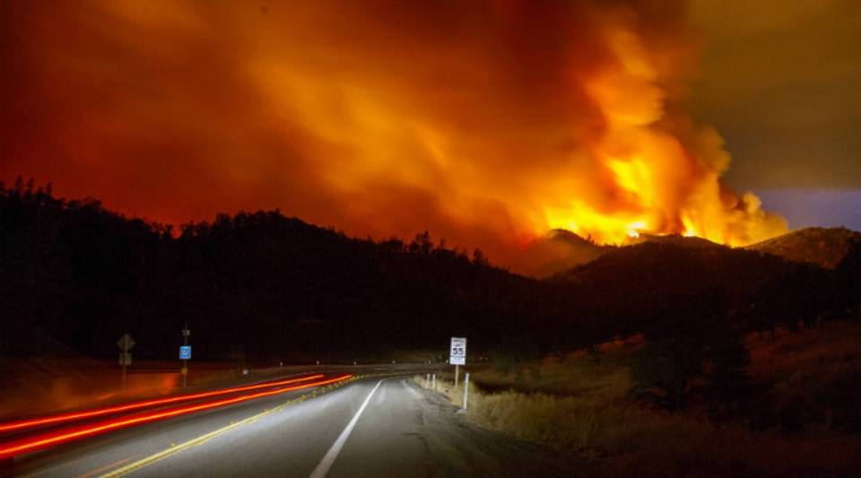 The Rocky Fire burns near Clear Lake, California, in August of last year.