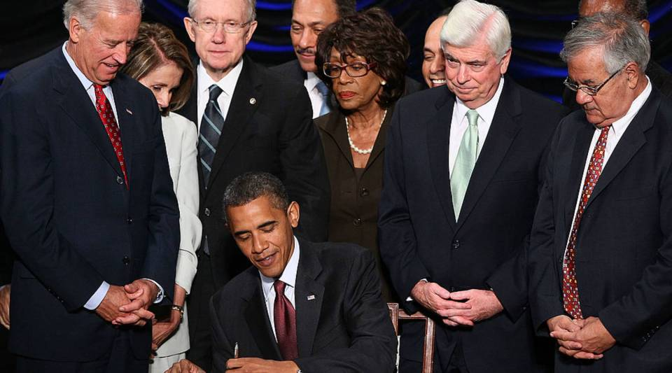 President Obama signing the Dodd-Frank Act in 2010.