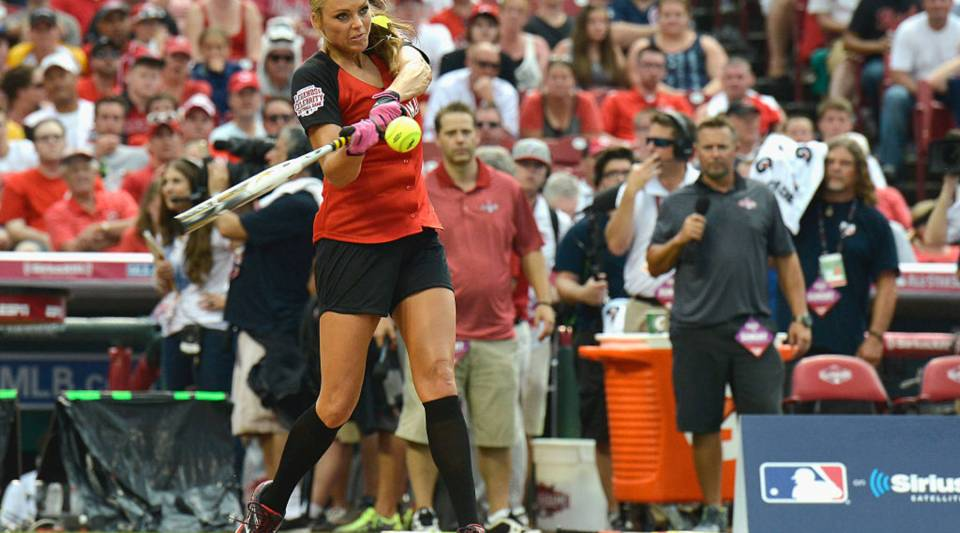 Jennie Finch at the 2015 MLB All-Star Legends And Celebrity Softball Game at Great American Ball Park on July 12, 2015 in Cincinnati, Ohio.