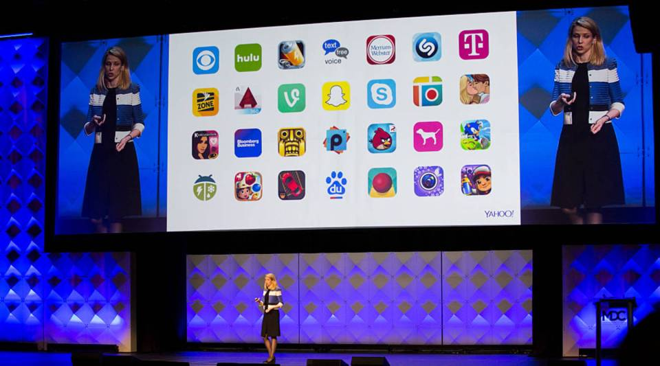 Yahoo! President and CEO Marissa Mayer delivers a keynote during the Yahoo Mobile Developers Conference on February 18, 2016 at The Masonic in San Francisco, California.