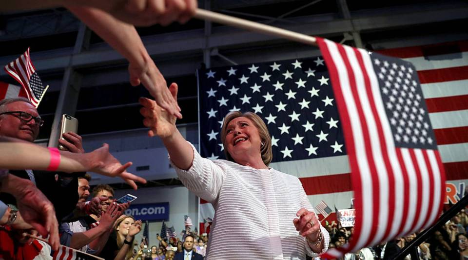 Presumptive Democratic presidential nominee Hillary Clinton greets supporters during a primary night event on June 7, 2016 in Brooklyn, New York.