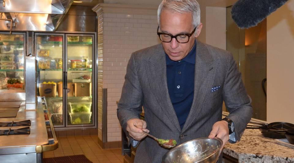 Geoffrey Zakarian making ahi poke at his new restaurant, Georgie.