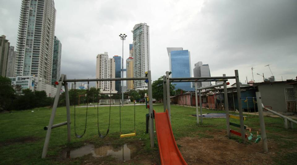 The view of downtown Panama City from Boca la Caja, a former fishing village.