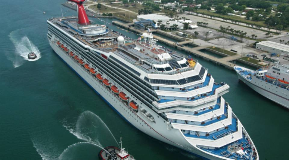 The Carnival Glory ship arrives in Cape Canaveral, Florida.