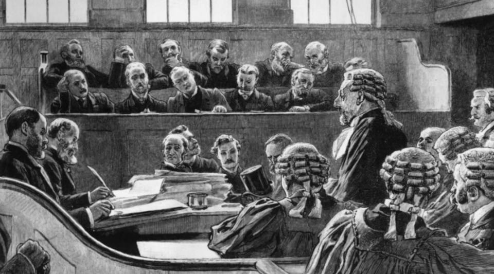 A scene in the Central Criminal Court at the Old Bailey, London.