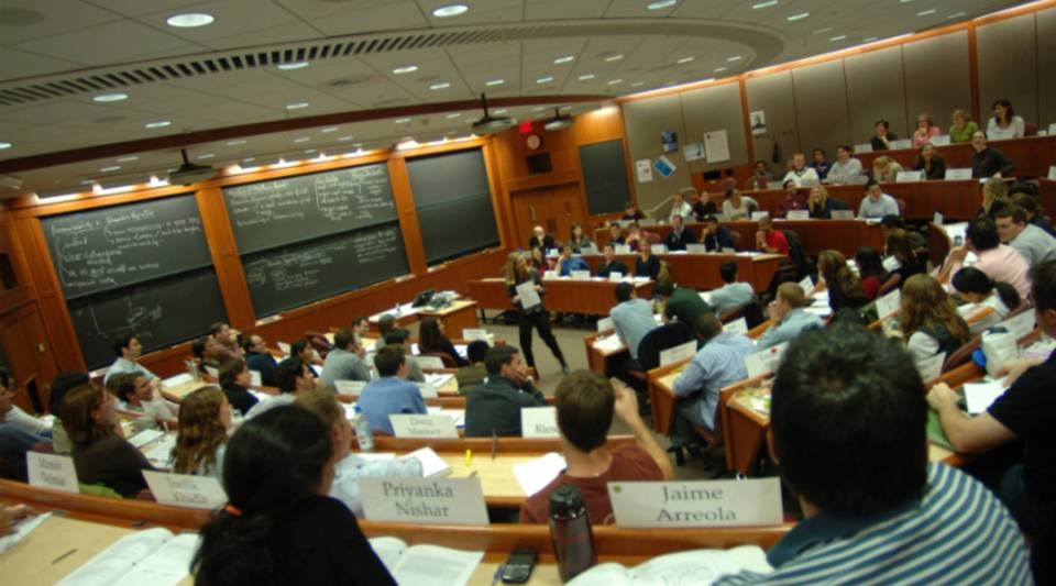 Inside a Harvard Business School classroom.