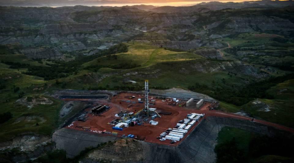 An oil drilling rig near Watford City, North Dakota.