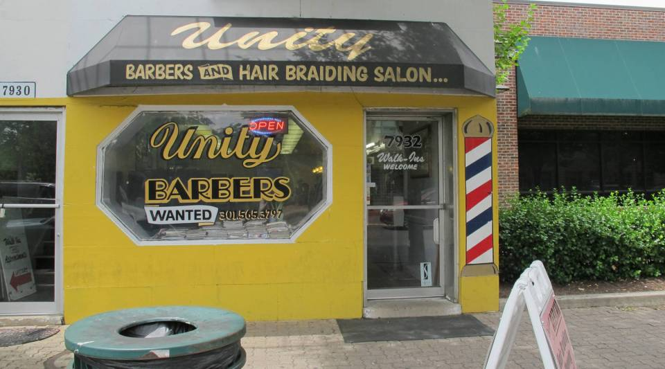 Unity Barber shop is in the Washington, D.C., suburb of Silver Spring, Maryland.
