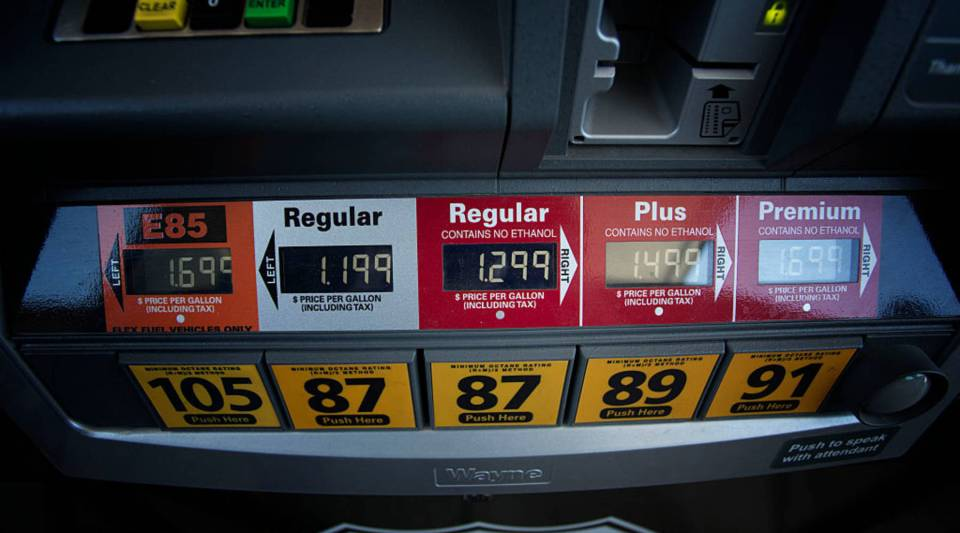 A gas pump reflects cheap gas prices in Oklahoma City, Oklahoma.