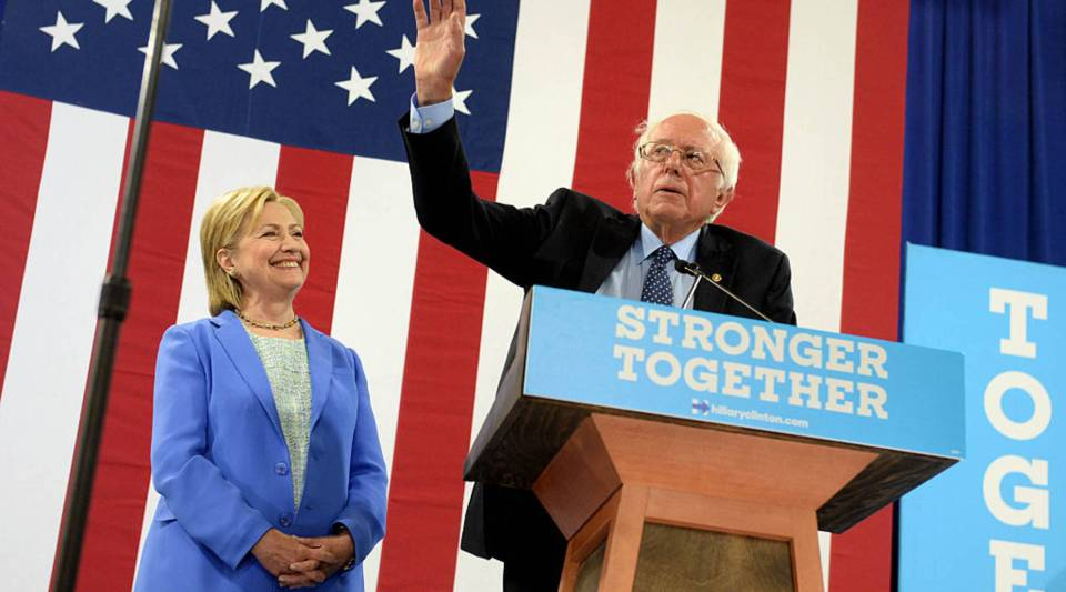 Bernie Sanders introduces presumptive Democratic presidential nominee Hillary Clinton at Portsmouth High School July 12, 2016 in Portsmouth, New Hampshire. Sanders endorsed Clinton for president of the United States.