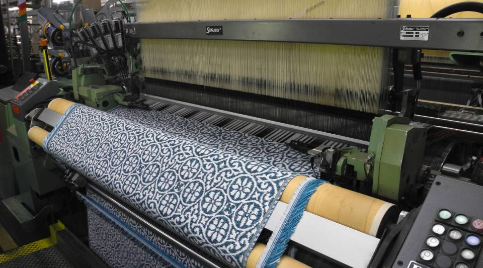 A patterned Sunbrella cloth in production.
