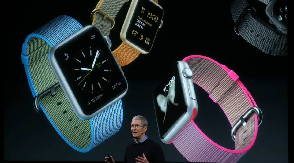 Apple CEO Tim Cook speaks about the Apple Watch during an Apple event back in March at the company's headquarters.