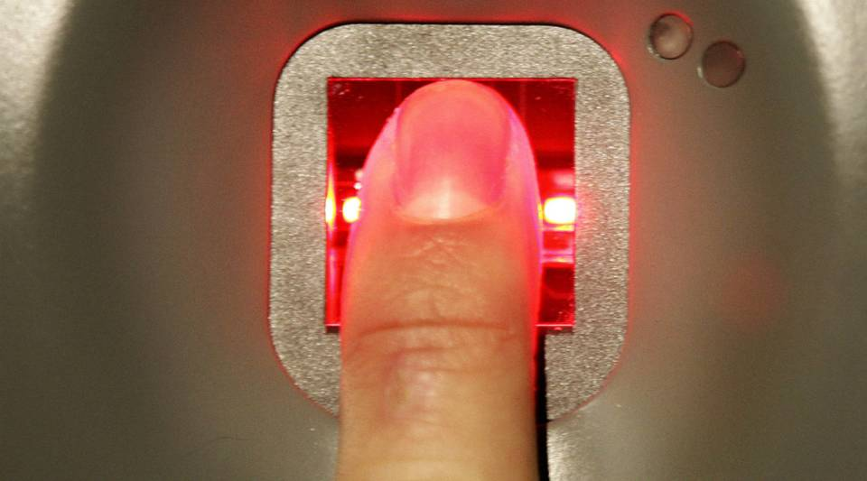 A man has his fingerprint scanned on an airport biometric check.Fingerprint technology may start becoming a part of your credit card paying routine.