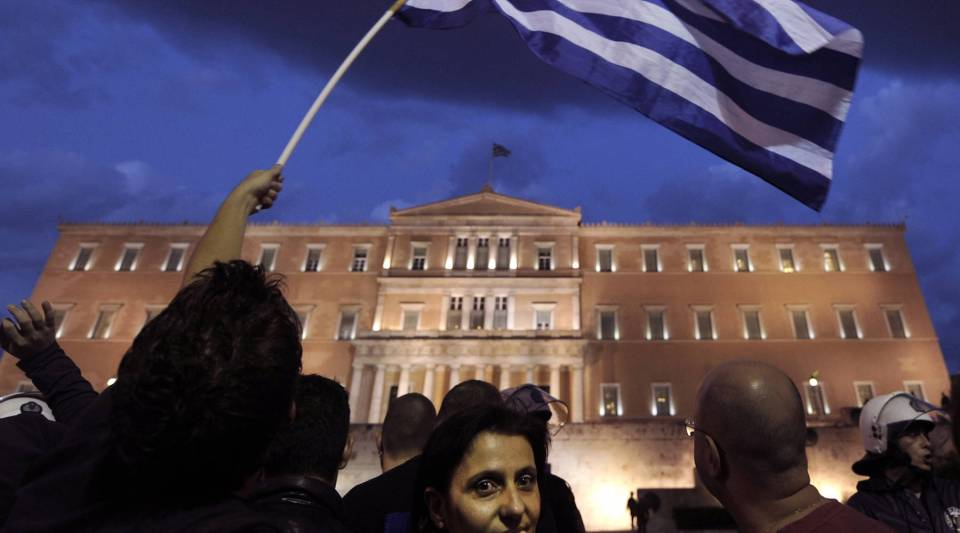 Protesters demonstrate in front of the Greek parliament in Athens during the crisis in 2011.
