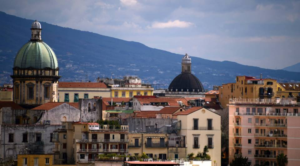 A view of the center of Naples, Italy.