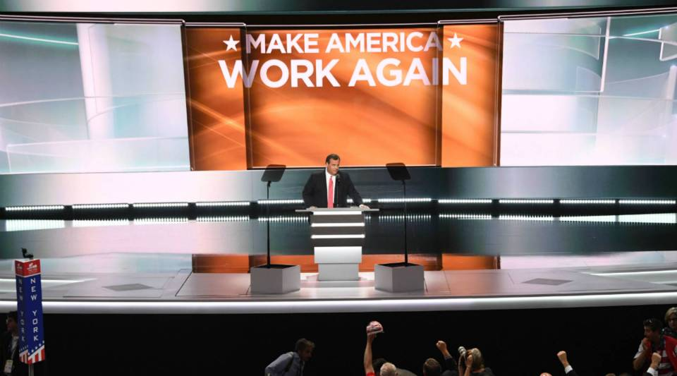 New Jersey Governor Chris Christie speaks on the second day of the Republican National Convention at the Quicken Loans Arena in Cleveland.