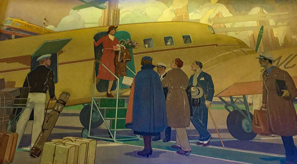 A historic mural in the lobby of the Brown Palace Hotel in downtown Denver depicts wealthy high-society tourists arriving by plane to vacation in the Rockies.