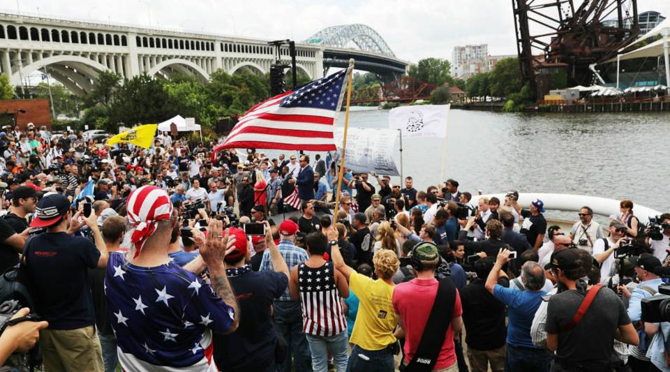 Donald Trump supporters attend a rally in downtown Cleveland during the Republican National Convention.